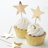 Ginger Ray cupcake toppers Metallic Star gull, 10 stk.
