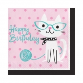 Lunsjservietter Purr-Fect Happy Birthday, 16 stk.