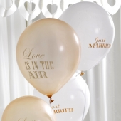 Ballonger Just Married Chic Boutique kremhvit / gull, 8 stk.