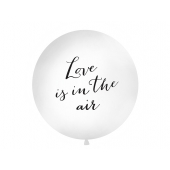 Stor ballong Love is in the air, hvit/svart