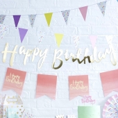 Banner Happy Birthday Gold, 1,5 m