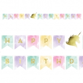 Flaggbanner Happy Birthday Unicorn Sparkle (enhjørning), 1,4 m