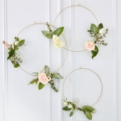 Store dekorative ringer (hanging hoops) Gold Wedding, 3 stk.
