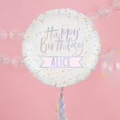 Folieballong m/personalisering Happy Birthday - Pastel Party