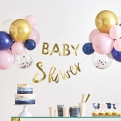 Ballongdekorasjon og banner Baby Shower - Pink & Navy Gender Reveal, 2 m