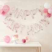 Ballongbanner Happy Birthday gjennomsiktig m/rosa konfetti - Mix It Up