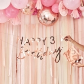 Personalisert banner Happy Birthday roségull, 1,5 m - Mix It Up