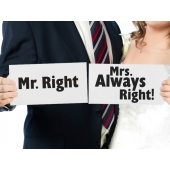 "Tavler ""Mr. Right"" / ""Mrs. Always Right!"", 2 stk."