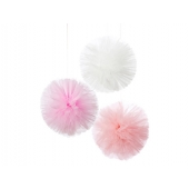 Pom poms av tyll We Love Pink, 3 stk.