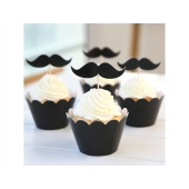 Cupcake wrappers og toppers Moustaches, 12 stk.