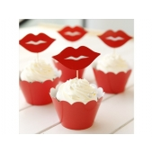Cupcake wrappers og toppers Red Lips, 12 stk.