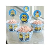 Cupcake wrappers og toppers Minions, 12 stk.