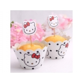 Cupcake wrappers og toppers Hello Kitty, 12 stk.