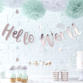 Ginger Ray banner Hello World Rose Gold