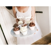 Cupcake toppers Yum Sweet Love sølv, 6 stk.