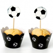 Cupcake wrappers og toppers Fotball, 12 stk.