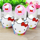 Cupcake wrappers og toppers Hello Kitty Rainbow, 12 stk.