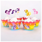 Cupcake wrappers og toppers My Little Pony, 12 stk.