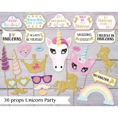 Photo booth props Unicorn, 30 stk.