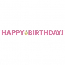Banner Happy Birthday Pineapple n Friends m/rosa glitter, 3 m