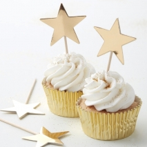 Cupcake toppers Metallic Star gull, 10 stk.