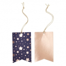 Ginger Ray etiketter Navy / Rose Gold, 8 stk.