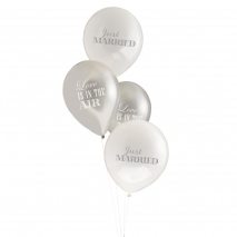 Ballonger Just Married Chic Boutique hvit / sølv, 8 stk.
