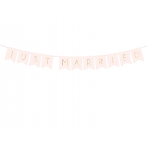 Flaggbanner Just Married rosa, 1,55 m