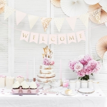 Flaggbanner Welcome rosa, 0,95 m