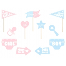 Photo booth props Gender Reveal baby shower party, 11 stk.