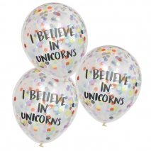 Konfettiballonger I Believe in Unicorns, 5 stk.