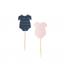 Cupcake toppers Pink & Navy Gender Reveal, 12 stk.