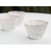 Cupcake wrappers Filigree antikk hvit, 10 stk.