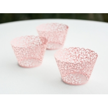 Cupcake wrappers Filigree rosa, 10 stk.