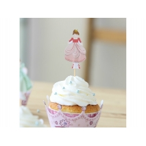 Cupcake wrappers og toppers Small Princesses, 12 stk.