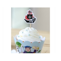 Cupcake wrappers og toppers Pirater, 12 stk.