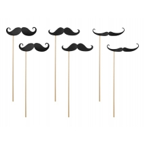 Party props Moustaches, 6 stk.