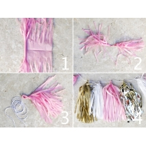 Tassel girlander av silkepapir Color Party, 30 stk.