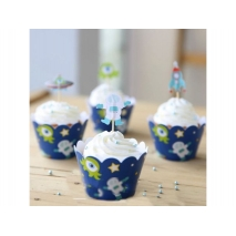 Cupcake wrappers og toppers Aliens, 12 stk.