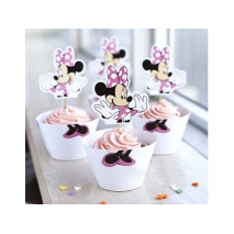 Cupcake wrappers og toppers Minnie, 12 stk.