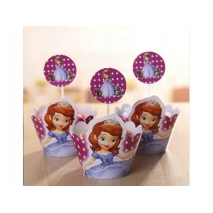 Cupcake wrappers og toppers Sofia, 12 stk.