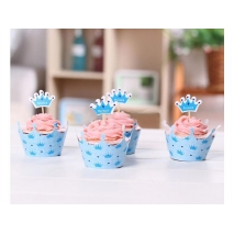 Cupcake wrappers og toppers Prince Crown, 12 stk.