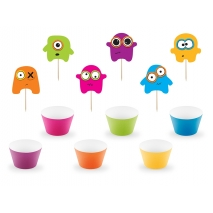 Cupcake wrappers og toppers Monsters, 12 stk.