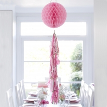 Talking Tables honeycomb rosa med lang tassel