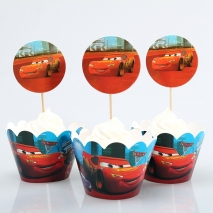 Cupcake wrappers og toppers Cars, 12 stk.