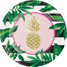Store papptallerkener Pineapple Wedding, 8 stk.