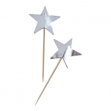 Ginger Ray cupcake toppers Metallic Star sølv, 10 stk.