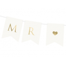 Flaggbanner Mr & Mrs hvit, 0,85 m