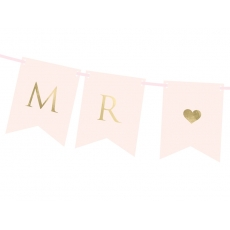 Flaggbanner Mr & Mrs rosa, 0,85 m