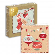 6 x Julekort Stocking & Bauble